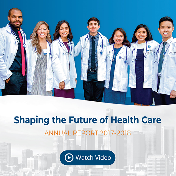a group of first year medical students with title Shaping the Future of Health Care Annual Report 2017 to 2018