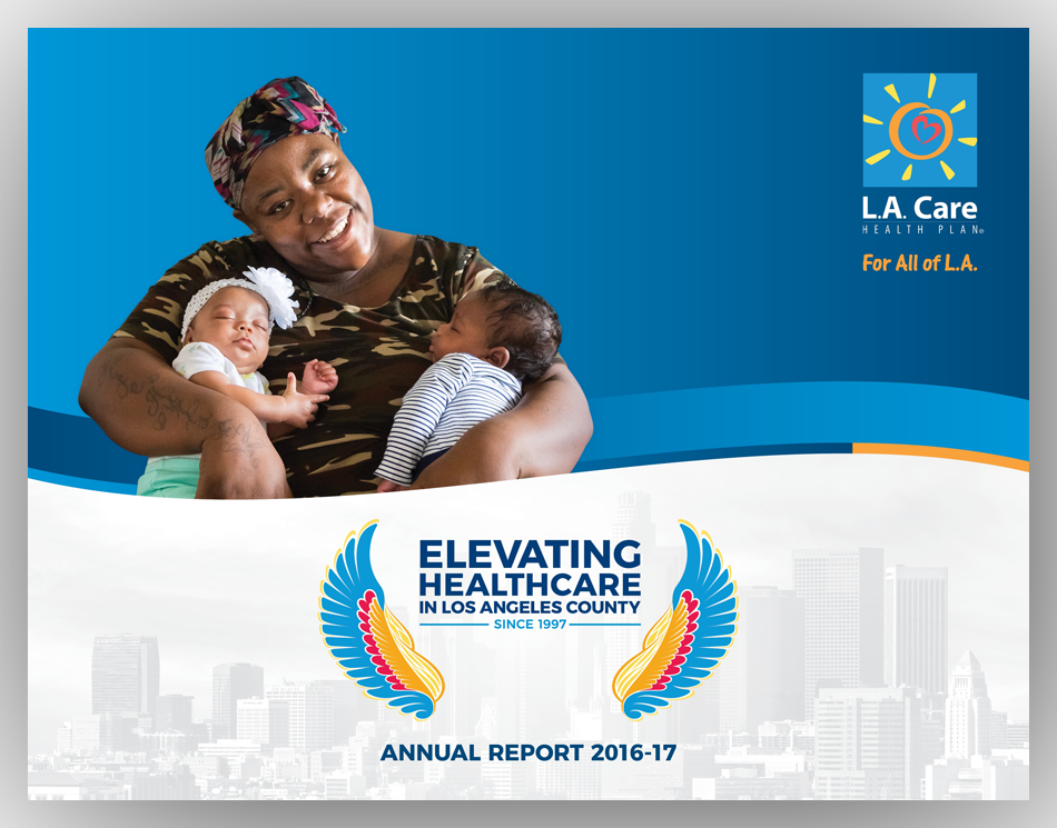 the cover of L.A. Care's Annual Report, featuring L.A. Care member Ma'Lissa Simon and her twin babies