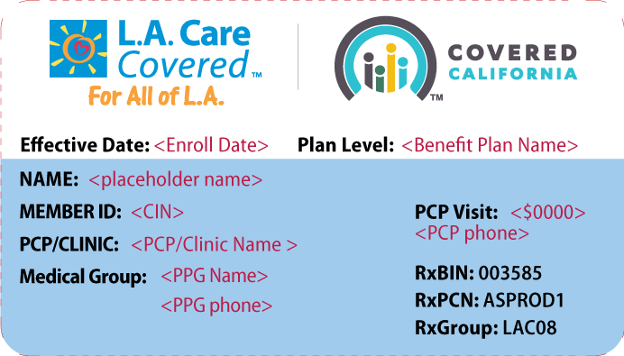 Understanding My ID Card   L.A. Care Health Plan