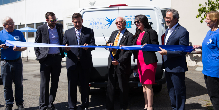 L.A. Care CEO John Baackes with Project Angel Food staff at ribbon-cutting ceremony for donated delivery van