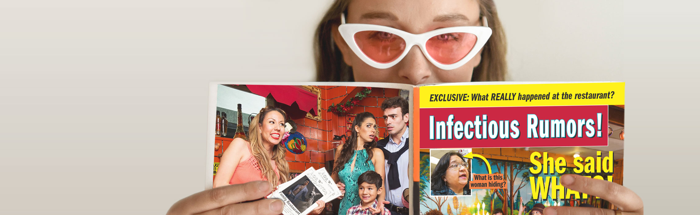 a woman reading Infectious Rumors! novela