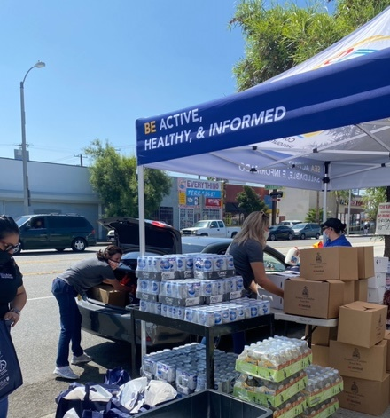 East L.A. sponsors a food pantry at The Garage Board Shop