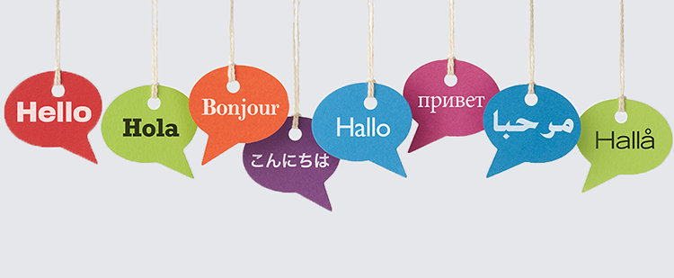 word bubbles each with hello in a different language